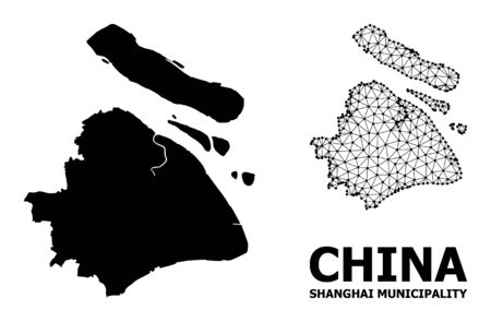 Solid and mesh vector map of Shanghai Municipality. Linear carcass 2D triangular mesh in vector EPS format, geographic templates for educational purposes.