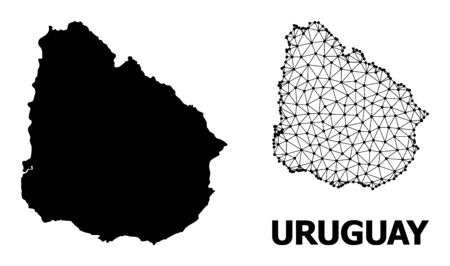 Solid and mesh vector map of Uruguay. Wire frame 2D triangular mesh in vector EPS format, geographic models for educational illustrations. Illustrations are isolated on a white background.