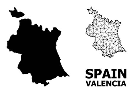 Solid and mesh vector map of Valencia Province. Wire carcass 2D polygonal mesh in eps vector format, geographic templates for patriotic posters. Illustrations are isolated on a white background. Иллюстрация