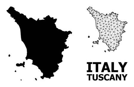 Mappa vettoriale solida e mesh della regione Toscana. Maglia triangolare piatta di carcassa metallica in formato vettoriale, modelli geografici per illustrazioni di economia. Le illustrazioni sono isolate su uno sfondo bianco. Vettoriali