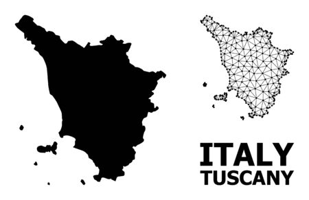 Solid and mesh vector map of Tuscany region. Wire carcass flat triangular mesh in vector format, geographic templates for economics illustrations. Illustrations are isolated on a white background.