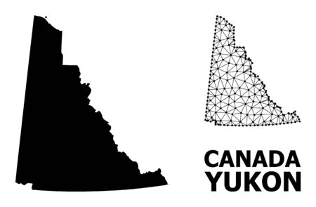 Solid and mesh vector map of Yukon Province. Linear frame 2D polygonal mesh in vector format, geographic models for economics illustrations. Illustrations are isolated on a white background.