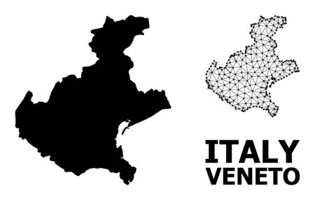 Solid and mesh vector map of Veneto region. Linear carcass flat polygonal mesh in eps vector format, geographic templates for political illustrations. Illustrations are isolated on a white background.