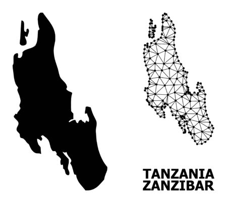 Solid and mesh vector map of Zanzibar Island. Wire carcass flat polygonal network in vector EPS format, geographic templates for economics illustrations.
