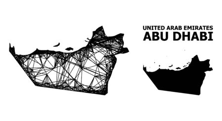 Web vector map of Abu Dhabi Emirate. Linear frame flat network in vector format, geographic template for economical concepts. map of Abu Dhabi Emirate are isolated on a white background.