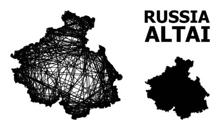Web vector map of Altai Republic. Wire frame 2D mesh in vector EPS format, geographic model for economical illustrations. map of Altai Republic are isolated on a white background. 矢量图像