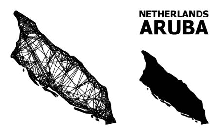 Net vector map of Aruba Island. Wire carcass flat network in vector format, geographic model for political purposes. map of Aruba Island are isolated on a white background. Illusztráció