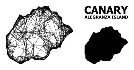 Net vector map of Alegranza Island. Wire carcass flat network in vector format, geographic model for patriotic illustrations. map of Alegranza Island are isolated on a white background.