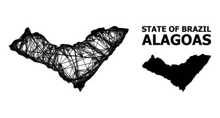 Net vector map of Alagoas State. Linear frame flat network in vector format, geographic model for patriotic concepts. map of Alagoas State are isolated on a white background.