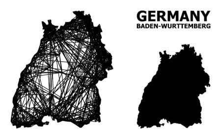 Net vector map of Baden-Wurttemberg State. Wire carcass flat network in vector format, geographic model for patriotic concepts. map of Baden-Wurttemberg State are isolated on a white background.