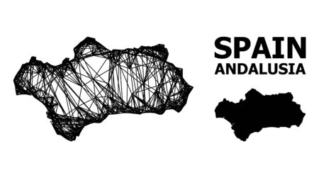 Net vector map of Andalusia Province. Wire carcass 2D network in vector format, geographic template for patriotic purposes. map of Andalusia Province are isolated on a white background.