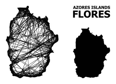 Web vector map of Azores - Flores Island. Wire frame 2D network in vector format, geographic template for economics compositions. map of Azores - Flores Island are isolated on a white background.