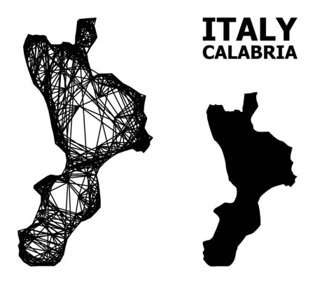 Net vector map of Calabria region. Linear frame 2D mesh in vector EPS format, geographic model for patriotic illustrations. map of Calabria region are isolated on a white background. Illusztráció