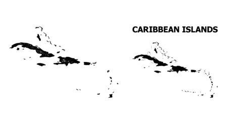 Carte vectorielle nette des îles des Caraïbes. Réseau 2D à cadre linéaire au format vectoriel eps, modèle géographique pour les compositions politiques. carte des îles des Caraïbes sont isolés sur un fond blanc. Vecteurs