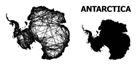 Web vector map of Antarctica. Linear frame 2D mesh in vector format, geographic model for economics posters. map of Antarctica are isolated on a white background.