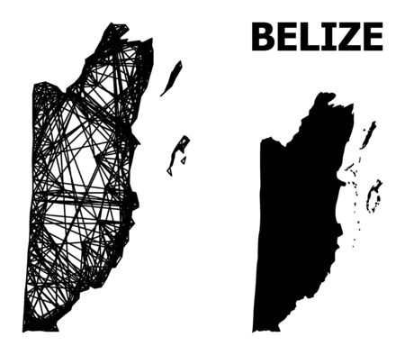 Net vector map of Belize. Wire frame flat network in vector format, geographic template for economical designs. map of Belize are isolated on a white background.