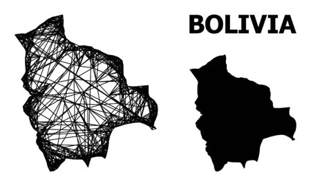 Net vector map of Bolivia. Linear carcass 2D network in vector format, geographic model for patriotic concepts. map of Bolivia are isolated on a white background.