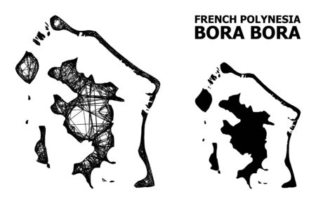 Web vector map of Bora-Bora. Wire frame flat network in vector format, geographic model for educational designs. map of Bora-Bora are isolated on a white background. Illustration