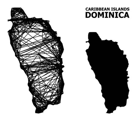Net vector map of Dominica Island. Linear carcass 2D network in vector EPS format, geographic model for patriotic illustrations. map of Dominica Island are isolated on a white background.