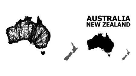 Web vector map of Australia and New Zealand. Wire carcass flat network in vector format, geographic template for patriotic concepts.