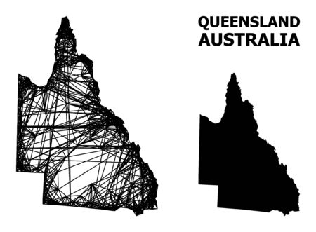 Net vector map of Australian Queensland. Wire frame flat network in eps vector format, geographic model for economical illustrations. map of Australian Queensland are isolated on a white background.
