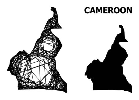 Web vector map of Cameroon. Linear carcass 2D network in vector format, geographic template for educational designs. map of Cameroon are isolated on a white background.