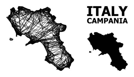 Net vector map of Campania region. Linear frame flat network in eps vector format, geographic template for economical designs. map of Campania region are isolated on a white background. Illusztráció