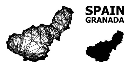 Net vector map of Granada Province. Wire frame 2D network in vector format, geographic model for economics concepts. map of Granada Province are isolated on a white background.  イラスト・ベクター素材