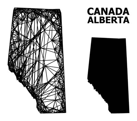 Net vector map of Alberta Province. Wire carcass flat network in vector format, geographic template for political compositions. map of Alberta Province are isolated on a white background.