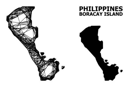 Net vector map of Boracay Island. Linear frame flat network in eps vector format, geographic template for political designs. map of Boracay Island are isolated on a white background.