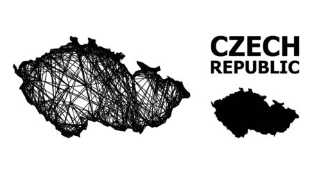 Web vector map of Czech Republic. Wire carcass flat mesh in vector format, geographic model for political compositions. map of Czech Republic are isolated on a white background. Ilustração