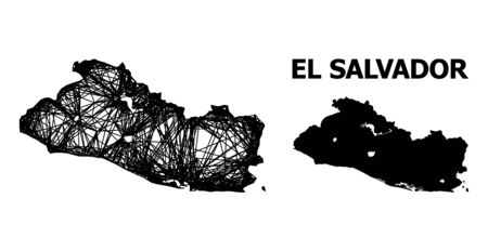 Net vector map of El Salvador. Linear carcass 2D mesh in vector format, geographic model for economical compositions. map of El Salvador are isolated on a white background.