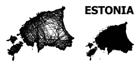 Web vector map of Estonia. Linear carcass 2D mesh in vector format, geographic template for patriotic illustrations. map of Estonia are isolated on a white background.