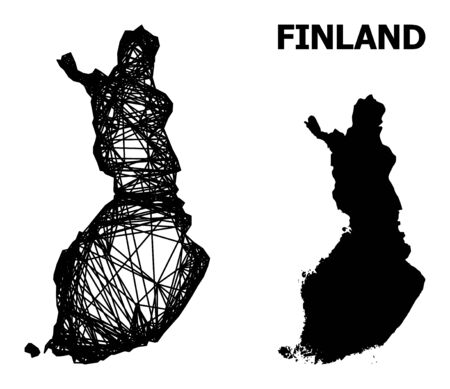 Web vector map of Finland. Linear frame 2D network in vector format, geographic model for economical purposes. map of Finland are isolated on a white background.