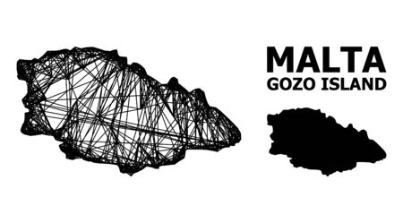 Net vector map of Gozo Island. Linear carcass 2D mesh in vector format, geographic template for political illustrations. map of Gozo Island are isolated on a white background.