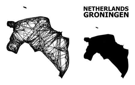 Web vector map of Groningen Province. Wire carcass flat network in vector format, geographic template for political posters. map of Groningen Province are isolated on a white background.