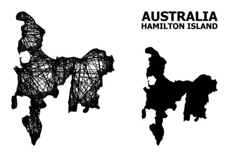 Net vector map of Hamilton Island. Wire frame 2D mesh in vector EPS format, geographic model for political compositions. map of Hamilton Island are isolated on a white background.
