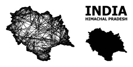 Web vector map of Himachal Pradesh State. Wire frame flat mesh in vector format, geographic model for patriotic purposes. map of Himachal Pradesh State are isolated on a white background. Ilustracja