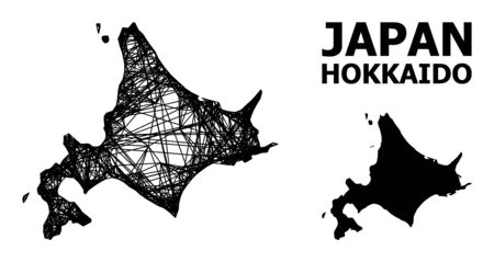 Net vector map of Hokkaido Island. Wire frame flat mesh in vector format, geographic model for economical illustrations. map of Hokkaido Island are isolated on a white background.