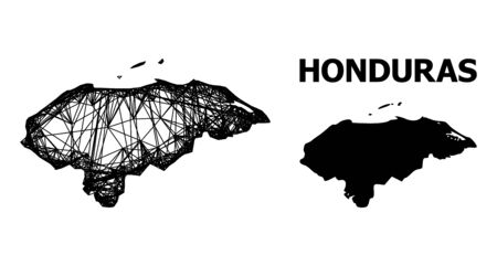 Net vector map of Honduras. Linear frame 2D network in vector format, geographic model for political compositions. map of Honduras are isolated on a white background.