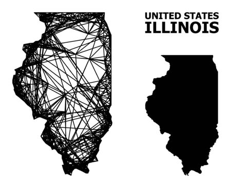 Web vector map of Illinois State. Wire frame 2D network in vector format, geographic template for economical purposes. map of Illinois State are isolated on a white background.