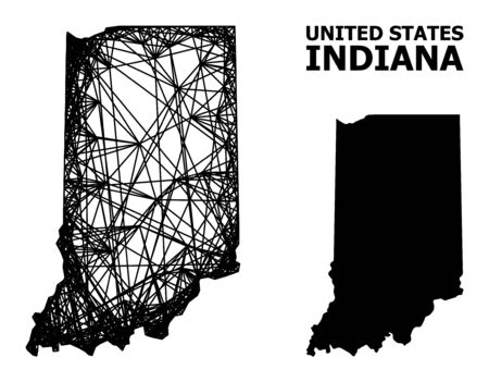 Web vector map of Indiana State. Wire carcass flat network in vector format, geographic model for educational purposes. map of Indiana State are isolated on a white background. Ilustracja