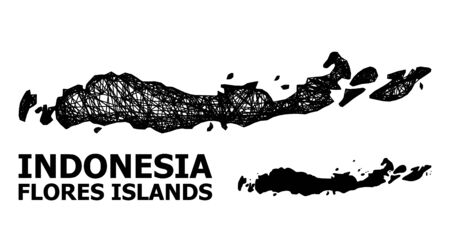 Net vector map of Indonesia - Flores Islands. Linear frame flat mesh in vector format, geographic template for educational illustrations. 向量圖像