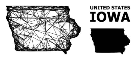 Net vector map of Iowa State. Wire frame 2D network in vector format, geographic template for economical designs. map of Iowa State are isolated on a white background.