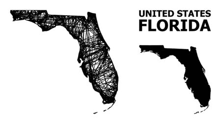 Web vector map of Florida State. Linear frame 2D mesh in vector format, geographic model for economical illustrations. map of Florida State are isolated on a white background.