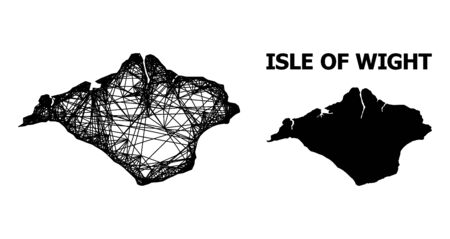Web vector map of Isle of Wight. Wire frame flat network in vector format, geographic model for economics posters. map of Isle of Wight are isolated on a white background.