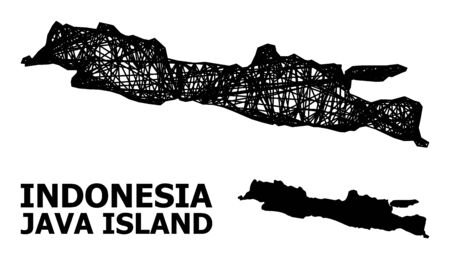 Net vector map of Java Island. Wire frame flat network in vector format, geographic template for patriotic designs. map of Java Island are isolated on a white background. Ilustracja
