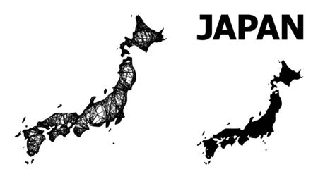Web vector map of Japan. Linear carcass flat mesh in vector format, geographic template for political purposes. map of Japan are isolated on a white background.