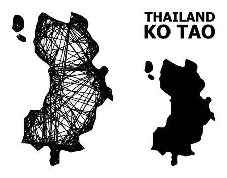 Web vector map of Ko Tao. Linear frame flat network in vector format, geographic template for political purposes. map of Ko Tao are isolated on a white background.