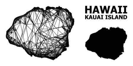 Net vector map of Kauai Island. Wire frame flat network in vector format, geographic model for economical concepts. map of Kauai Island are isolated on a white background.